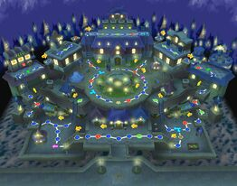 Faire Square at night in Mario Party 6