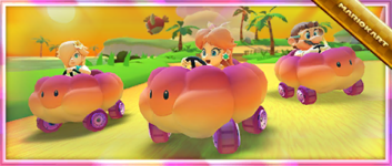 """The """"Celebrating the Summer Tour with the Sunset Cloud!"""" Pack from the Summer Tour in Mario Kart Tour"""