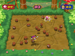 Wario ground pounding in Royal Rumpus from Mario Party 7