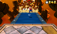 Mario fighting Bowser for the last time.