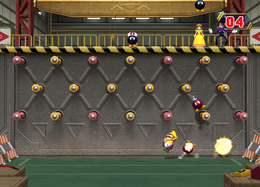 Wario explodes in Bob-ombs Away from Mario Party 8