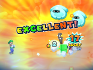 Screenshot of Mario inflicting dizzy on a Protobatter from Mario & Luigi: Bowser's Inside Story + Bowser Jr.'s Journey