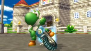 Yoshi, drifting on the Standard Bike, a drift type bike.