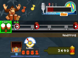 "Donkey Kong performs alone in ""Street Performance"" mode of Donkey Konga 2"
