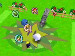 Day at the Races: Four creatures trying their best to race towards the finish; with characters icons next to them that indicate their players' picks on which creature would likely win. From Mario Party 2.