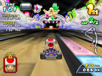 Toad driving to King Boo in Yoshi Park 2 from Mario Kart Arcade GP 2