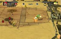 Screenshot of Bowser and Peach in the desert field from Mario Strikers Charged.