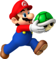 NSMBW Mario Holding Green Shell Artwork.png