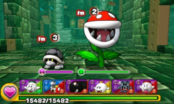 Screenshot of World 8-Tower 2, from Puzzle & Dragons: Super Mario Bros. Edition.