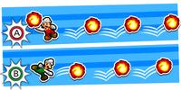 Illustration of the Fire Flower Bros. Attack from Mario & Luigi: Bowser's Inside Story + Bowser Jr.'s Journey