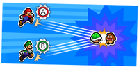 Illustration of the Green Shell Bros. Attack from Mario & Luigi: Bowser's Inside Story + Bowser Jr.'s Journey