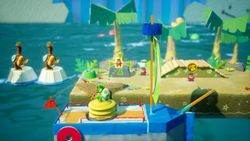 Bombs Away on Pirate Island, the first level of Chilly-Hot Isles in Yoshi's Crafted World.