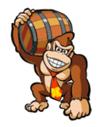 A sticker of DK with a Barrel