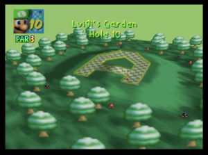 The tenth hole of Luigi's Garden from Mario Golf (Nintendo 64)