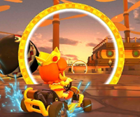 The icon of the Toadette Cup challenge from the Pirate Tour in Mario Kart Tour.