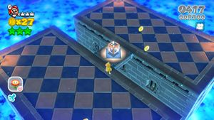 Hidden Luigi in Fort Fire Bros. in Super Mario 3D World.