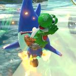 Yoshi performs a trick.