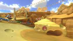 The first shortcut in the Mario Kart 8 version of the course