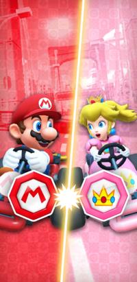 The Mario vs. Peach Tour from Mario Kart Tour