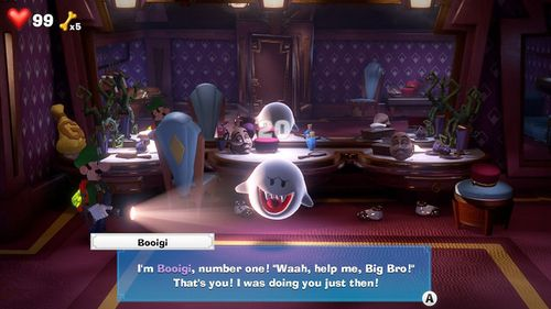 Booigi, a Boo from Luigi's Mansion 3, found in the Mezzanine.