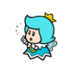 Surprised cyan Sprixie Princess stamp from Super Mario 3D World + Bowser's Fury.