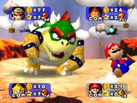 Bowser sending Mario away on Wario's Battle Canyon in Mario Party