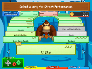 The song selection in the Street Performance option of Donkey Konga 2.