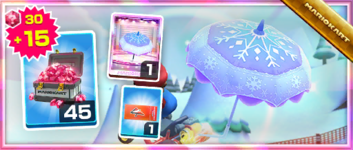 The Blizzard Parasol Pack from the Peach Tour in Mario Kart Tour