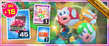 The Cheep Cheep Masks Pack from the Summer Festival Tour in Mario Kart Tour
