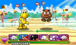 Screenshot of World 1-4, from Puzzle & Dragons: Super Mario Bros. Edition.