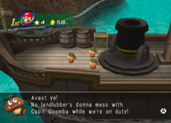 Captain Goomba's friends about to launch Mario.