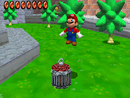Mario jumping into the cage of Big Boo's Haunt