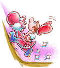 Artwork of Red Yoshi running up a hill with Baby Mario, from Yoshi's New Island.