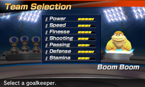 Boom Boom's stats in the soccer portion of Mario Sports Superstars
