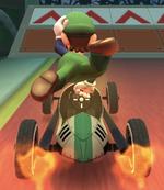 Luigi (Classic) performing a trick.