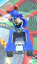 Toad (Pit Crew) performing a trick.