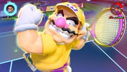 Wario performing his Special Shot, the Glorious Garlic Bomber