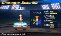 Pink Gold Peach's stats in the baseball portion of Mario Sports Superstars
