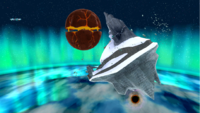"""A screenshot of Freezeflame Galaxy during """"The Frozen Peak of Baron Brrr"""" mission from Super Mario Galaxy."""