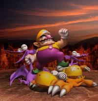 Wario defeats some enemies in Wario World.