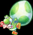 Artwork of Yoshi and Baby Mario from Yoshi's New Island.