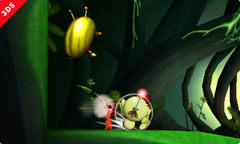 Captain Olimar attacking an Iridescent Glint Beetle in the Smash Run mode of Super Smash Bros. for Nintendo 3DS.