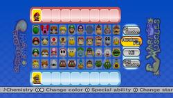 The Team Setup screen from Mario Super Sluggers.