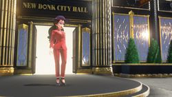 Mayor Pauline in front of New Donk City Hall.
