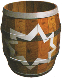 Artwork of a Blast Barrel from Donkey Kong Country