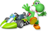 Artwork of Yoshi with his kart from Mario Kart Wii