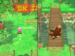 Donkey Kong chooses the wrong path in A Bridge Too Short in Mario Party 7