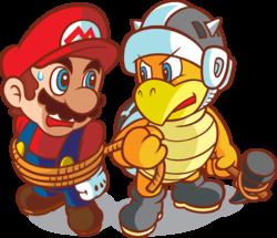 The Army Hammer Bro holding Mario captive.