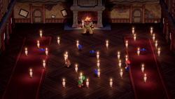 A Super Mario Party minigame involving lighting candles.