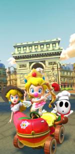 The splash screen of the Valentine's Tour from Mario Kart Tour